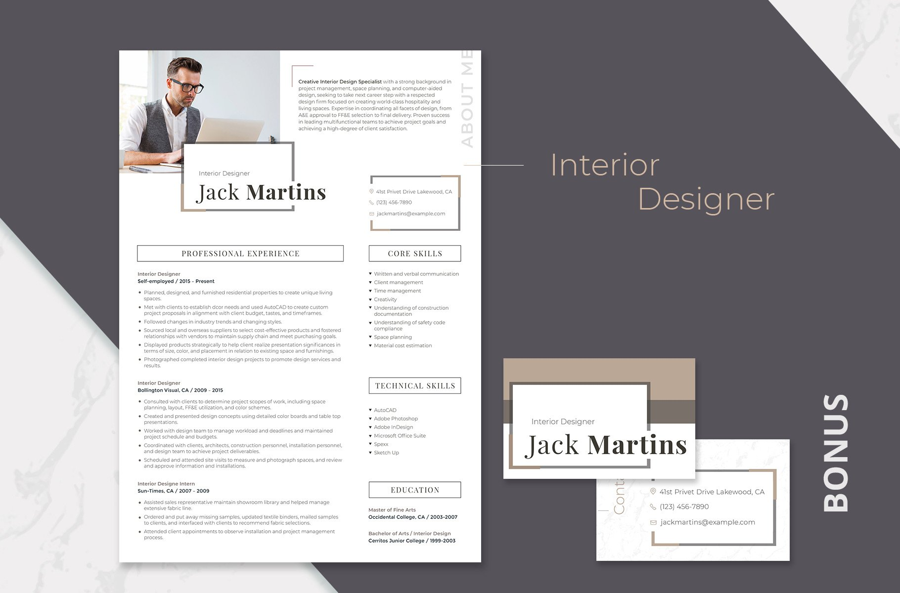presentation of interior design resume