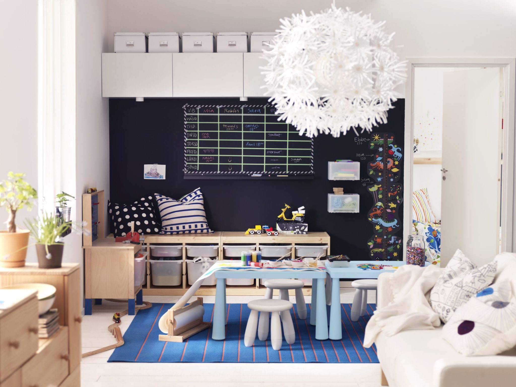 living room design with play area