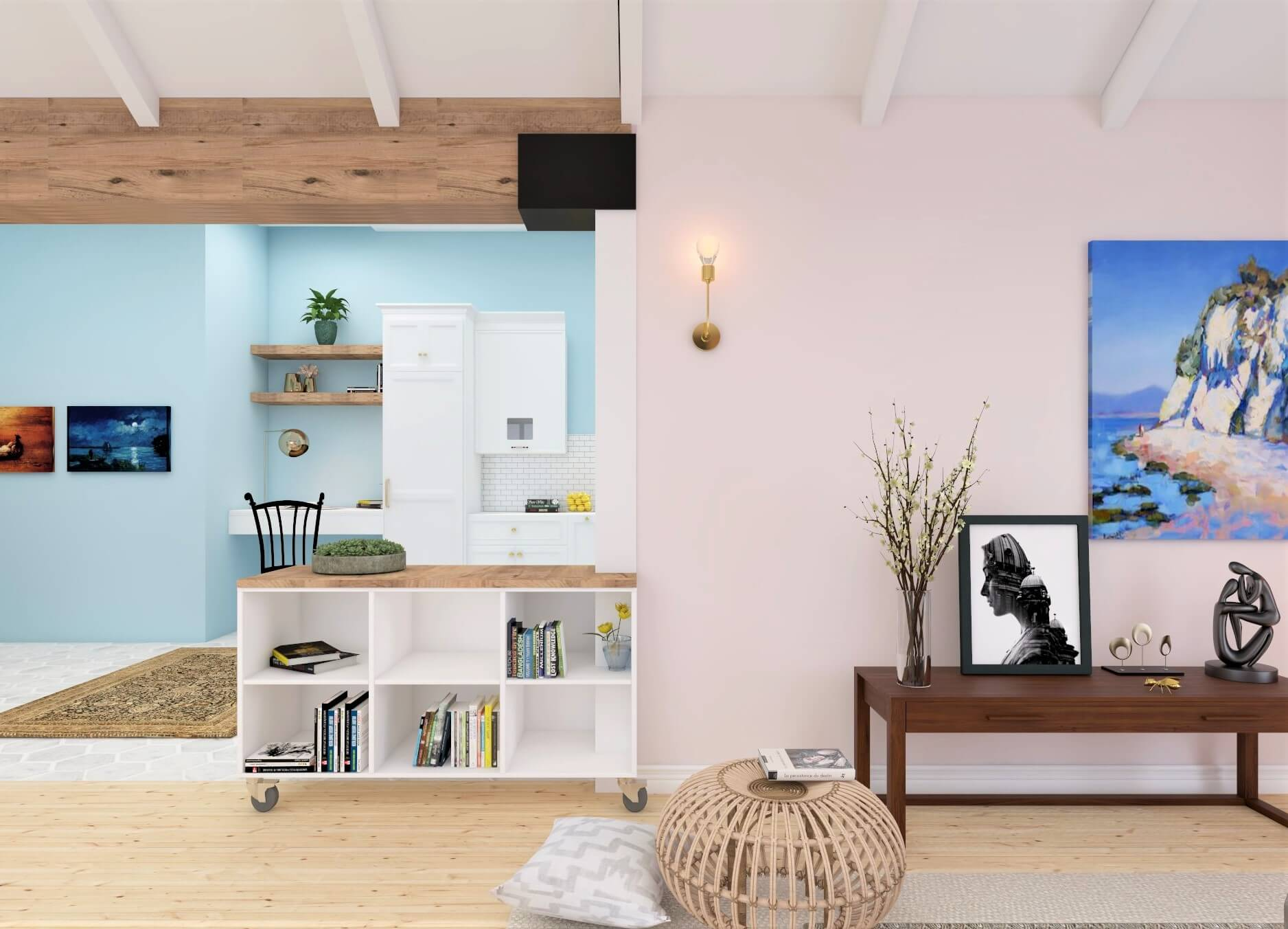 light colors Studio Apartment Layout