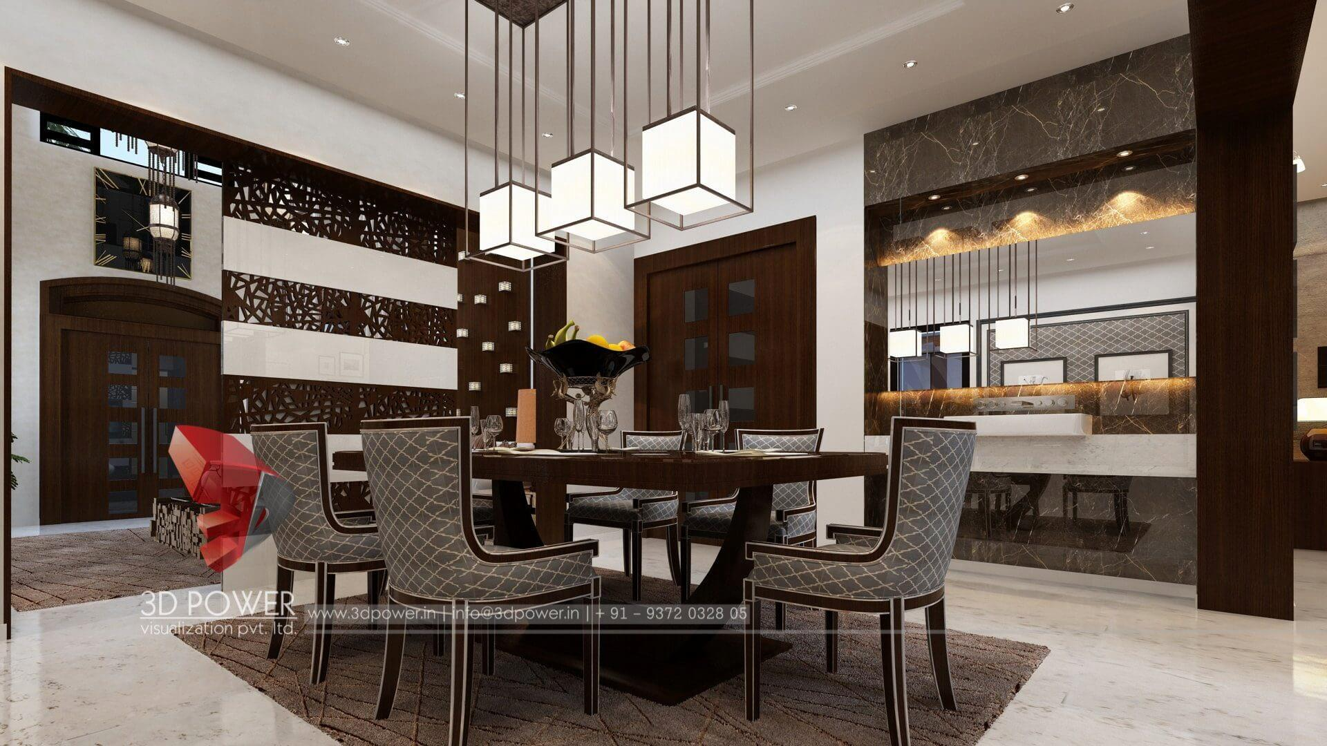 3d architectural rendering dining room interior design