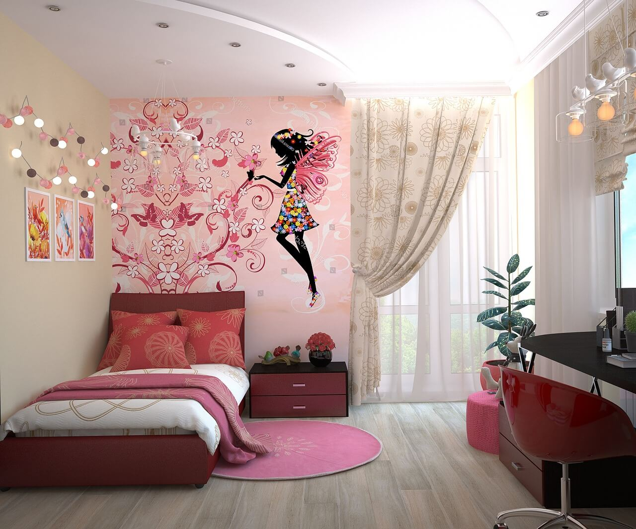 teenage bedroom with wall graphics