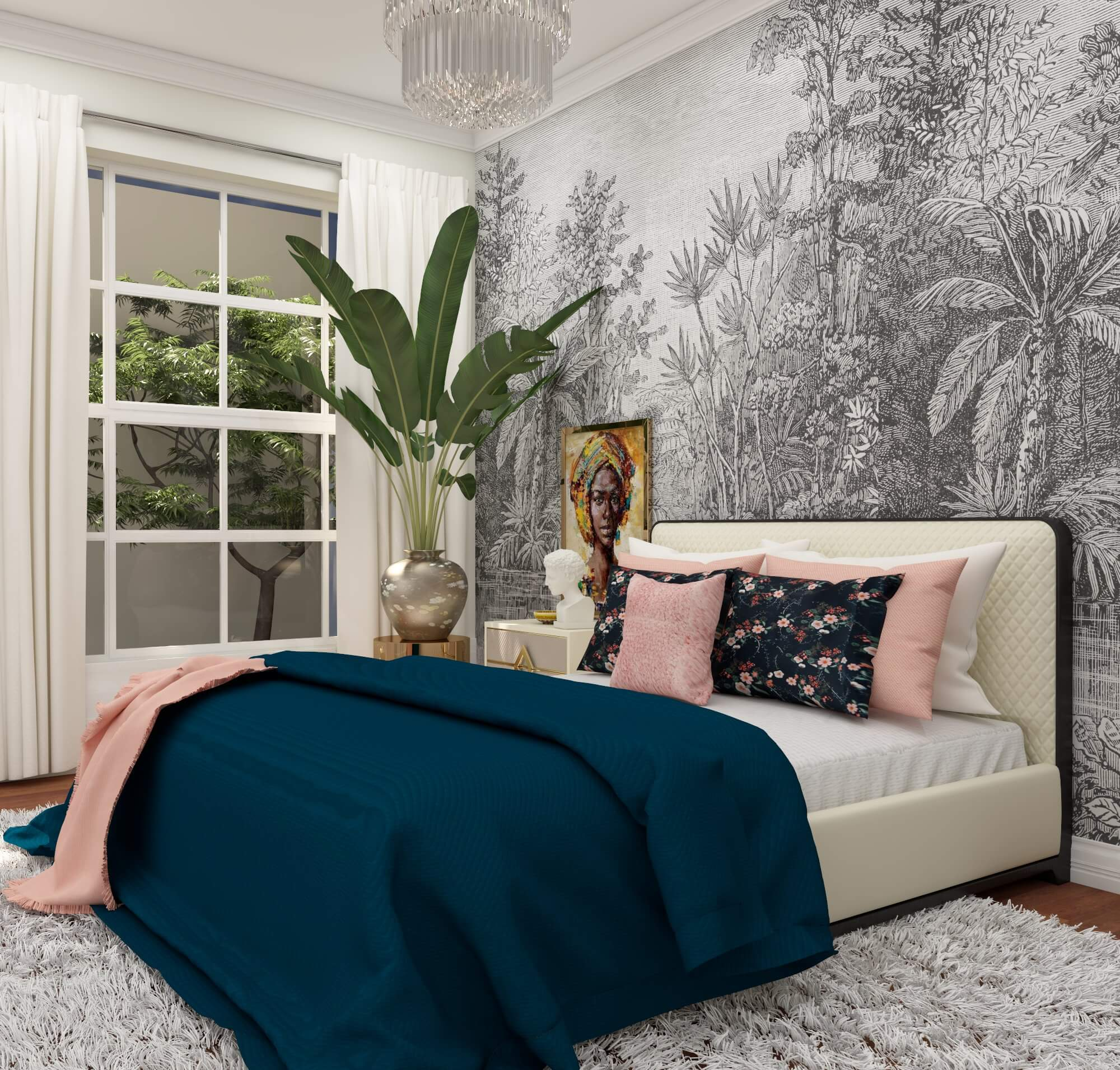 design bedroom with wallpaper