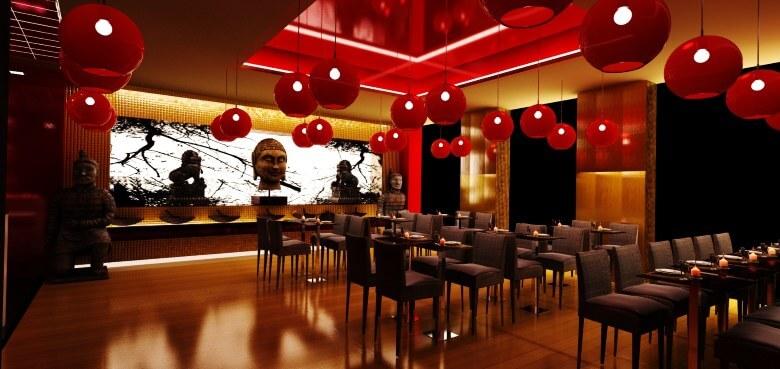 Japanese-Restaurant-Design-red-round-pendants