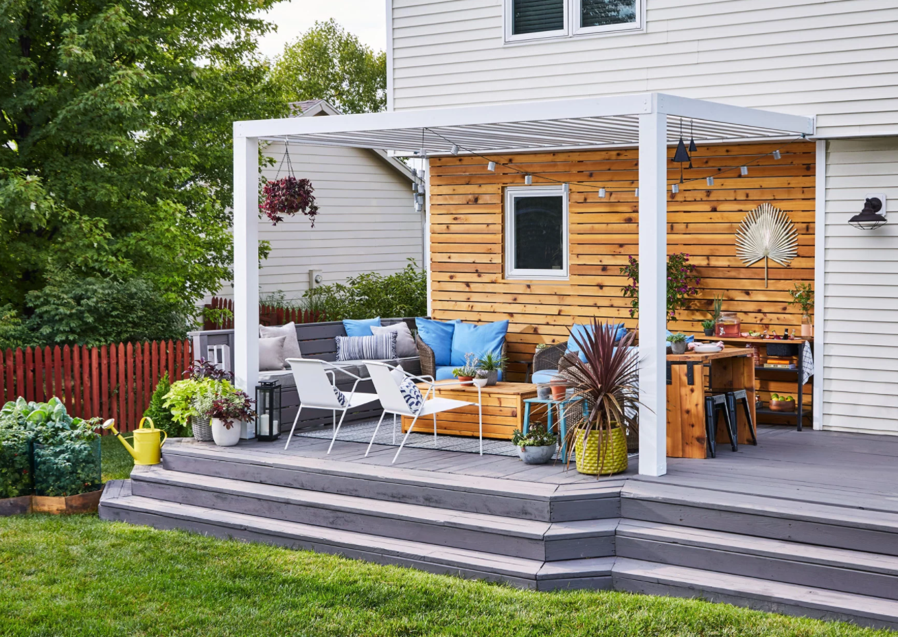 porch design with open sitting area