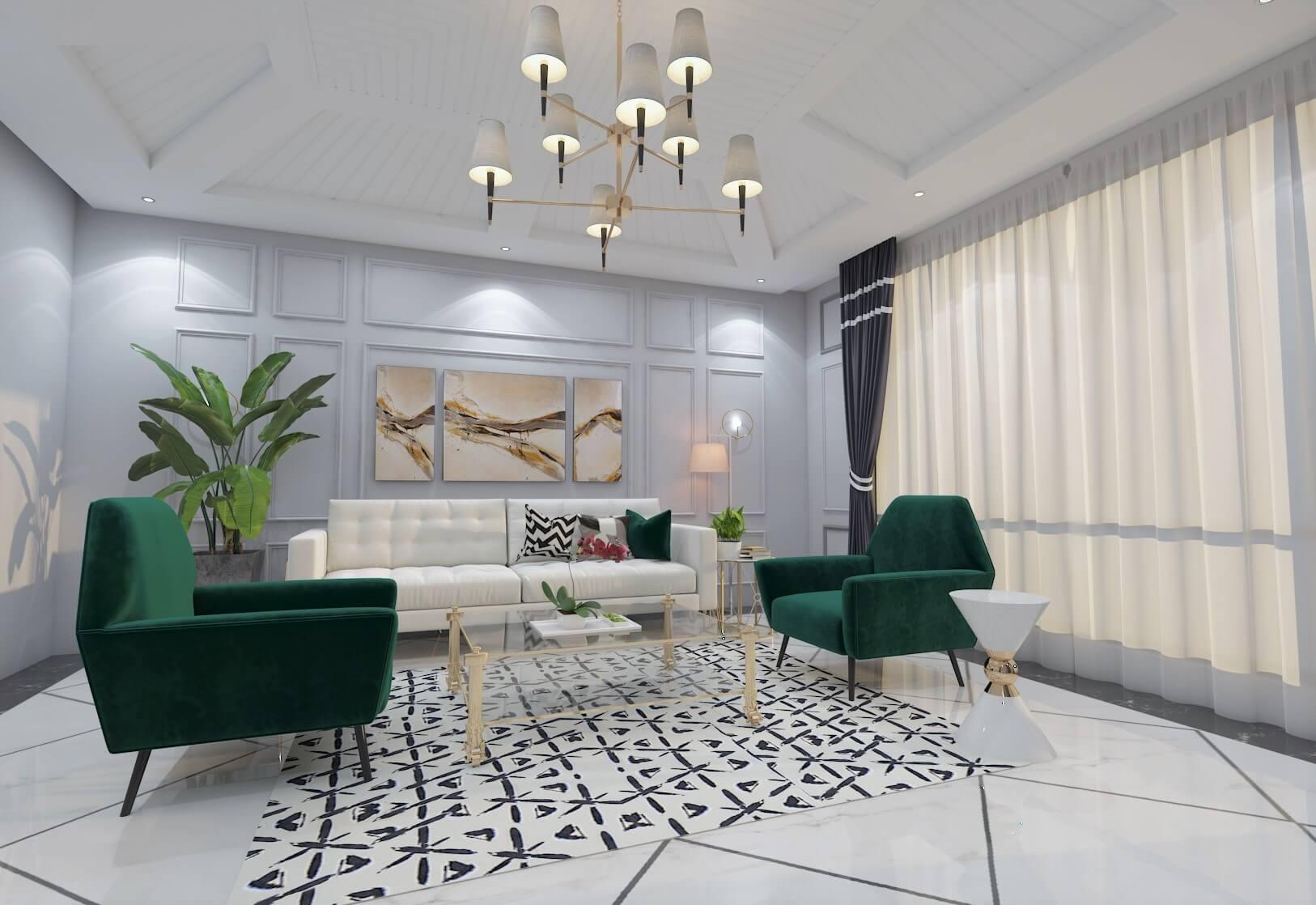 contemporary interior design metallic lights