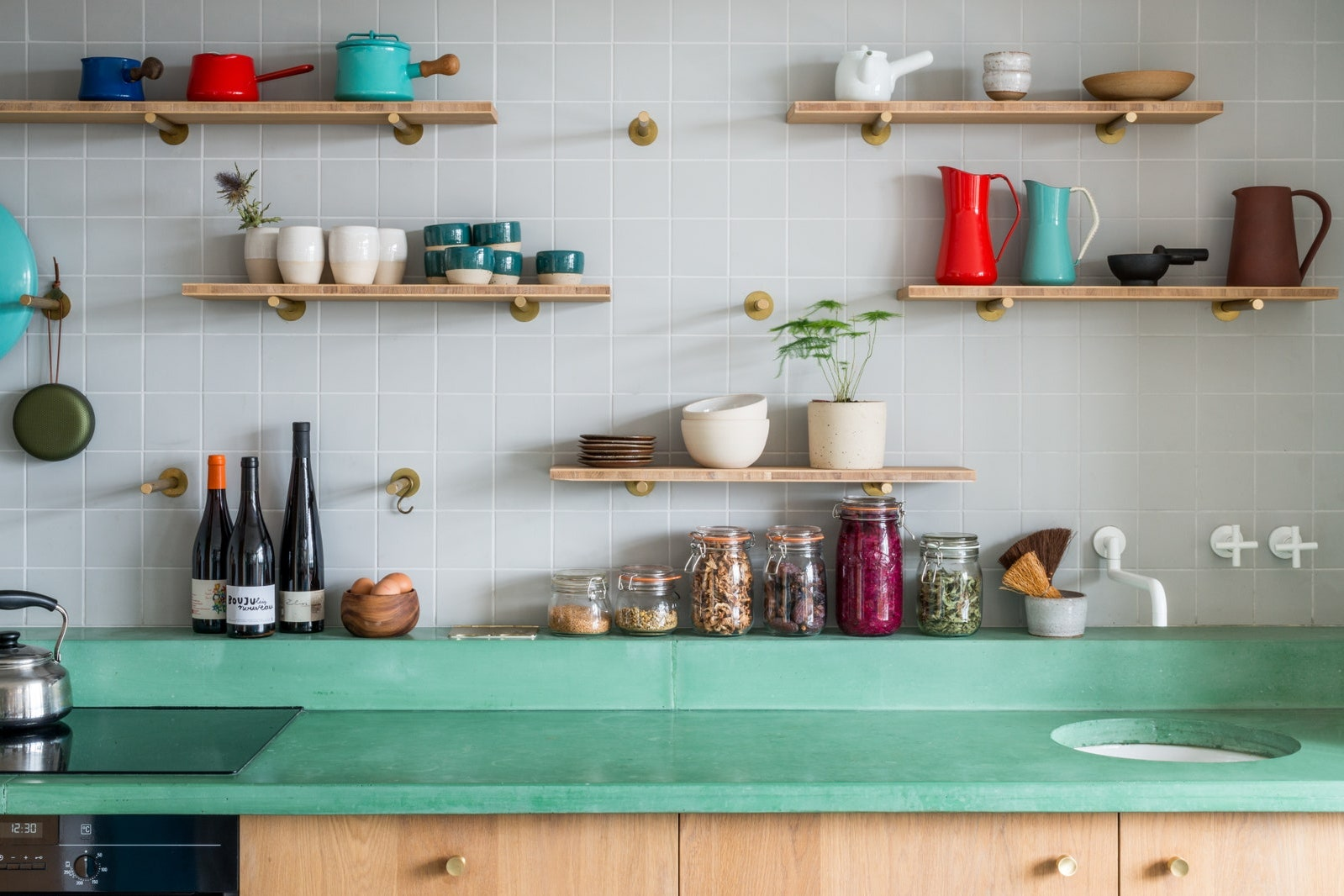 shelving and storage space for kitchen