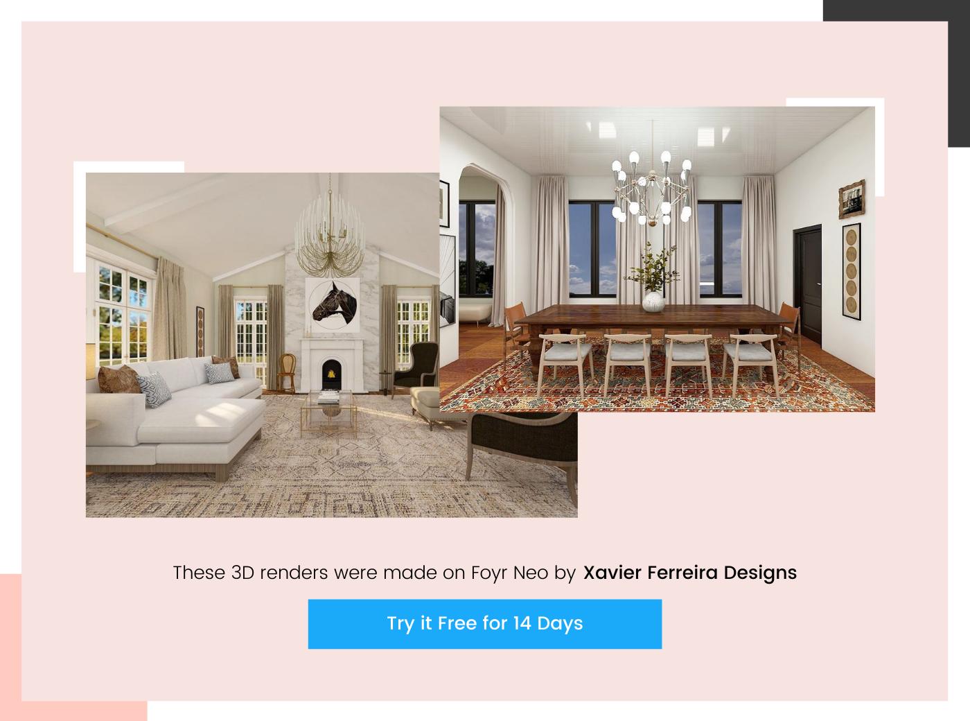 home design 3D render by Xavier Ferreira Designs