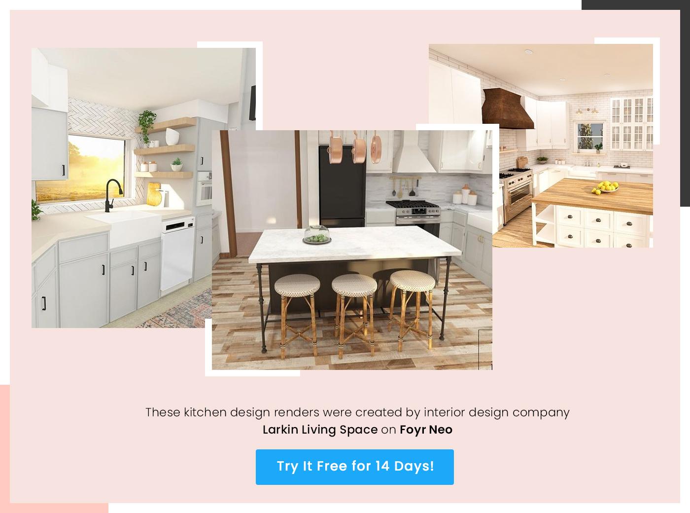 kitchen design render by larkin living space