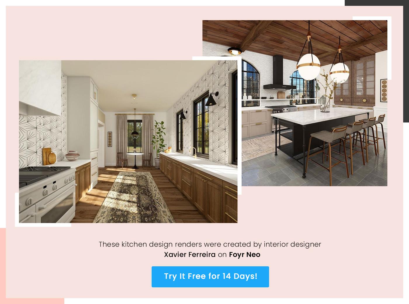 kitchen design render by xavier ferreira