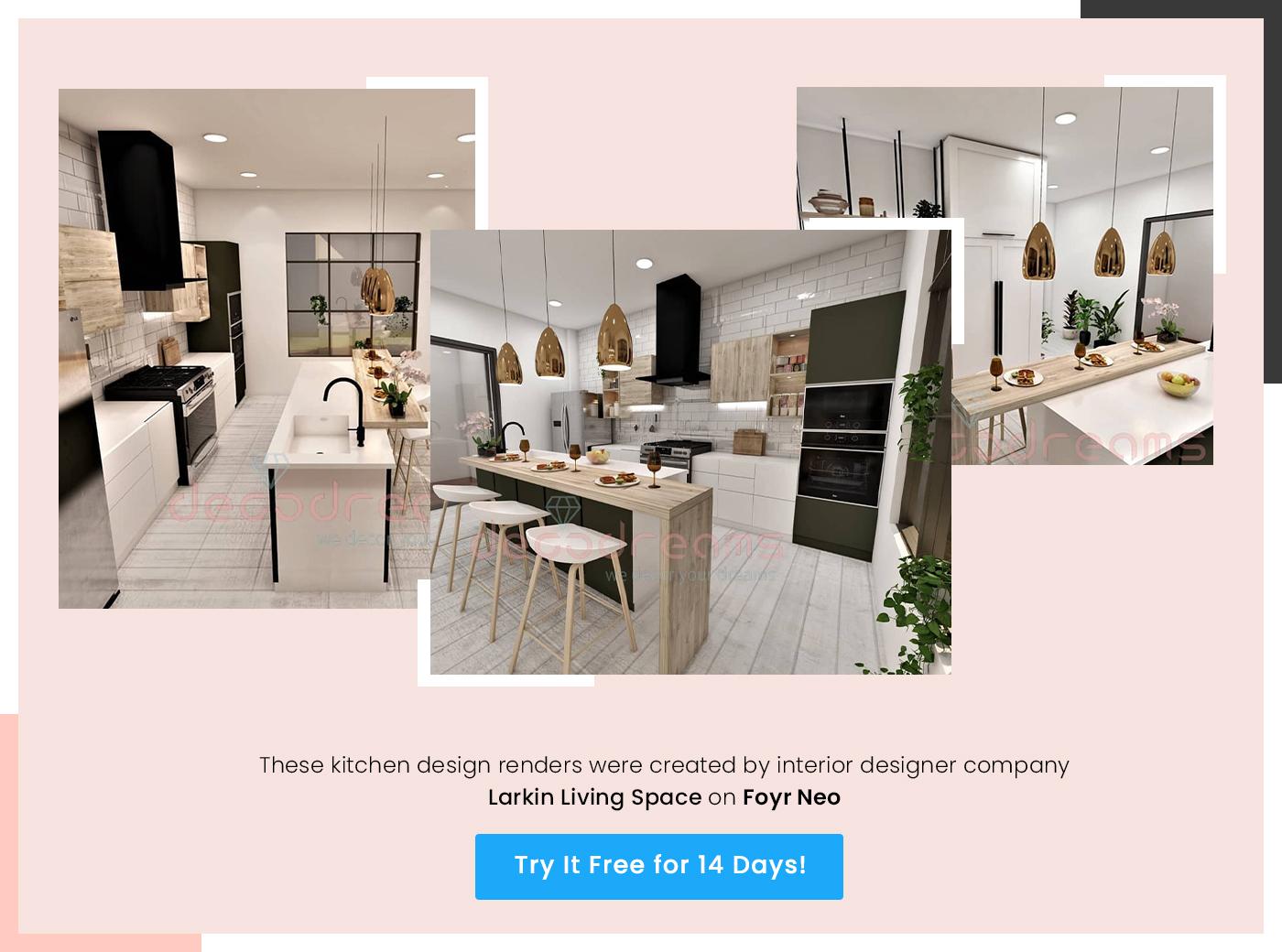 kitchen design render created by larkin living space