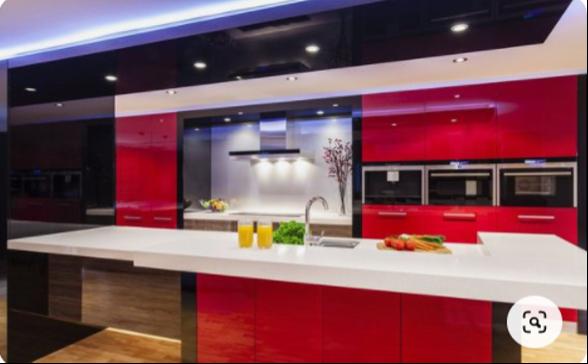 red black kitchen