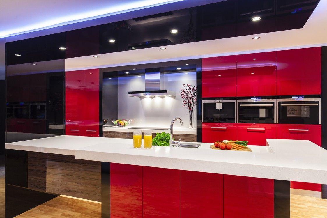 Red, black and grey kitchen by Ashlene