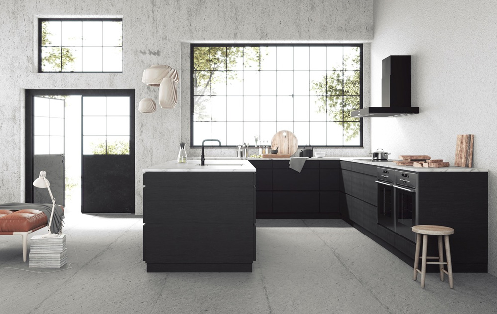 Black U Shaped kitchen