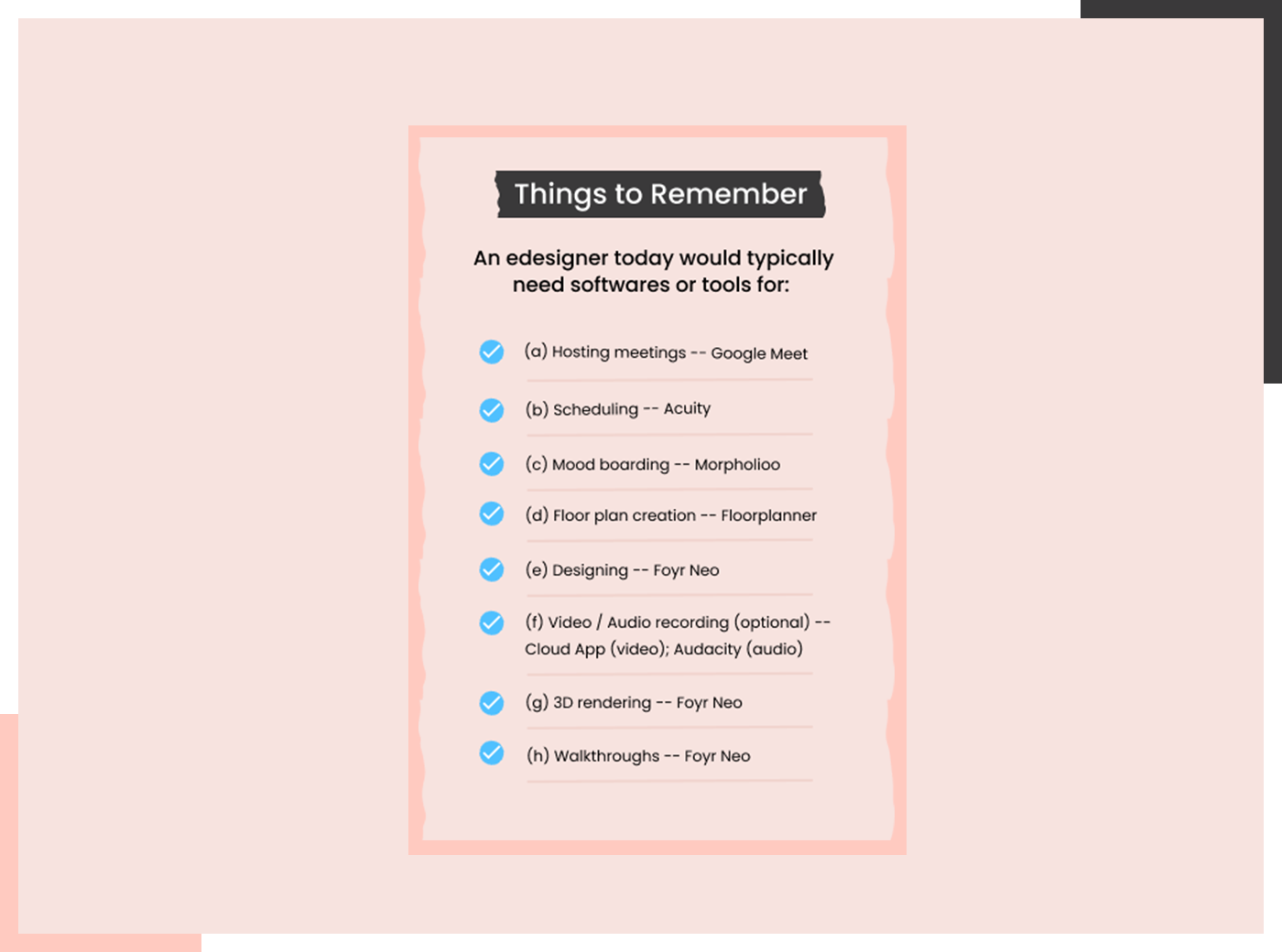 Things to remember for E-design
