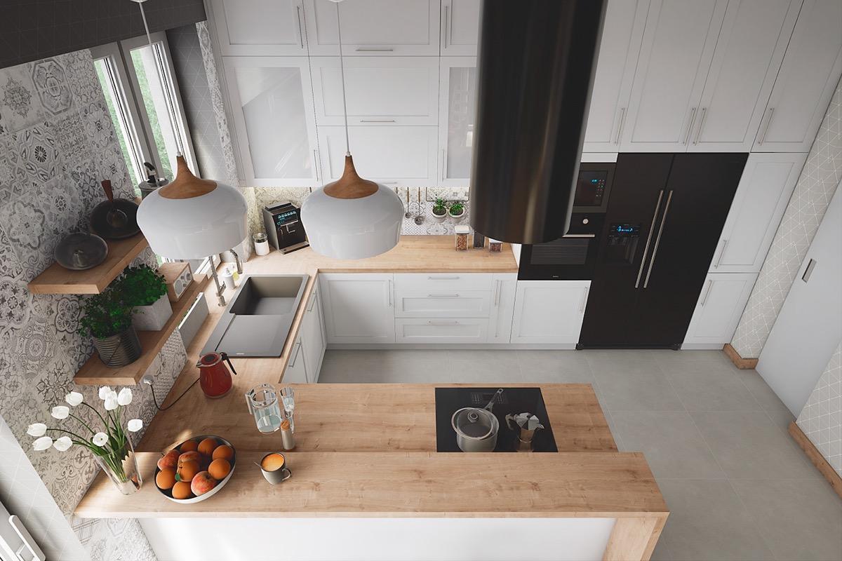 U shaped small kitchen
