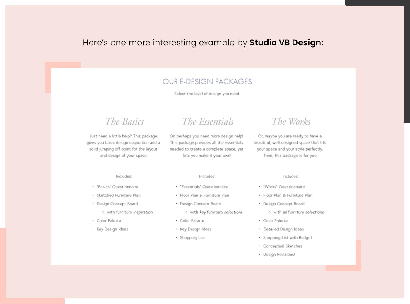 e-design packages by studio VB design