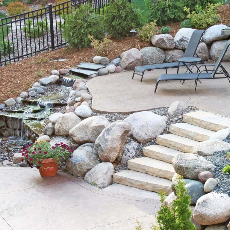 Multi-Level Patio design including Water characteristic