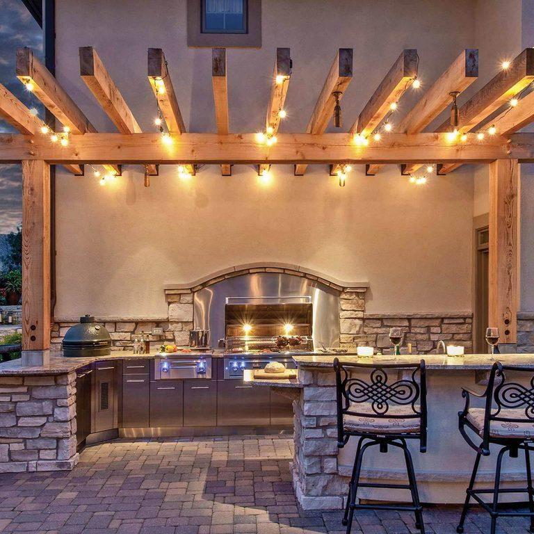 Patio design ideas - Kitchen with Pergola