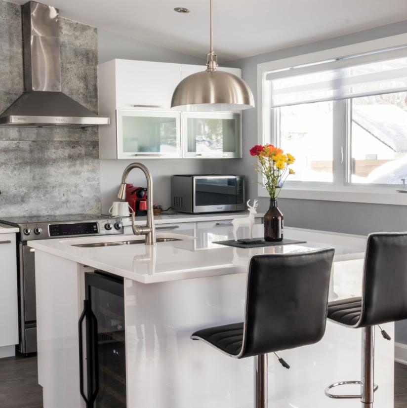Stainless steel kitchen island