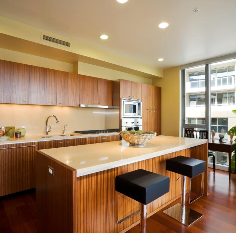Walnut cabinetry kitchen island