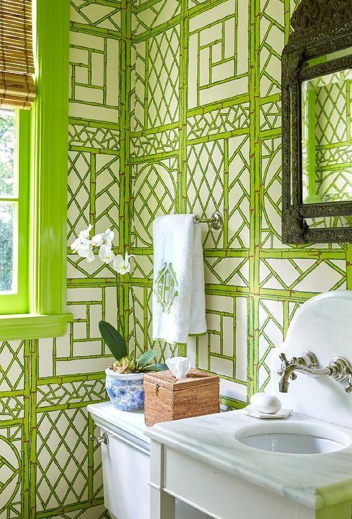 bamboo-trellis-wallpaper-bathroom-remodeling-ideas