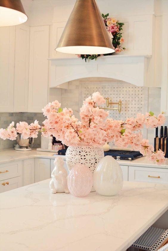 fresh pink blooming flowers