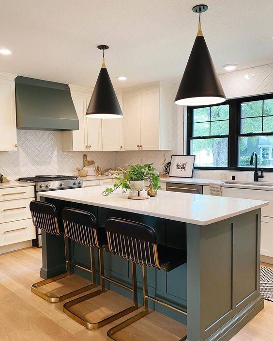 kitchen design island with lighting