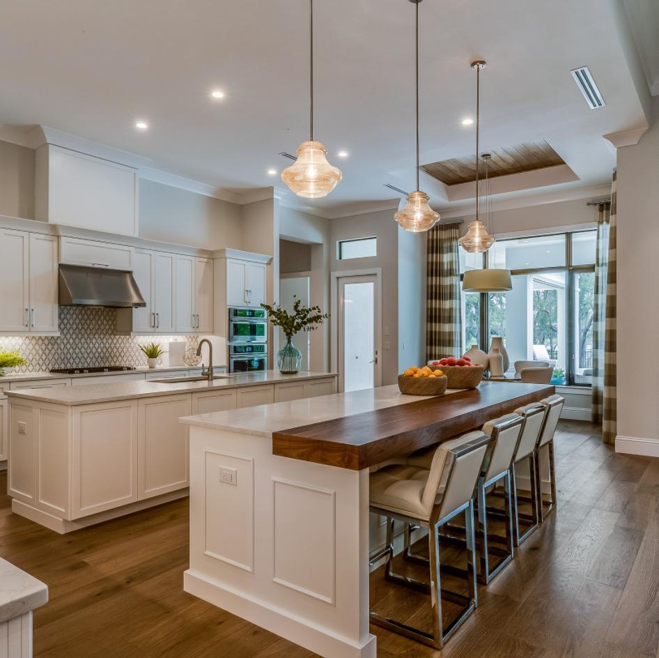 long kitchen island design