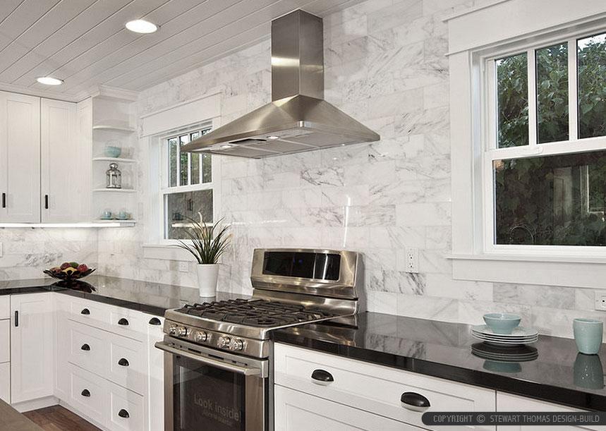 medium sized one wall kitchen design