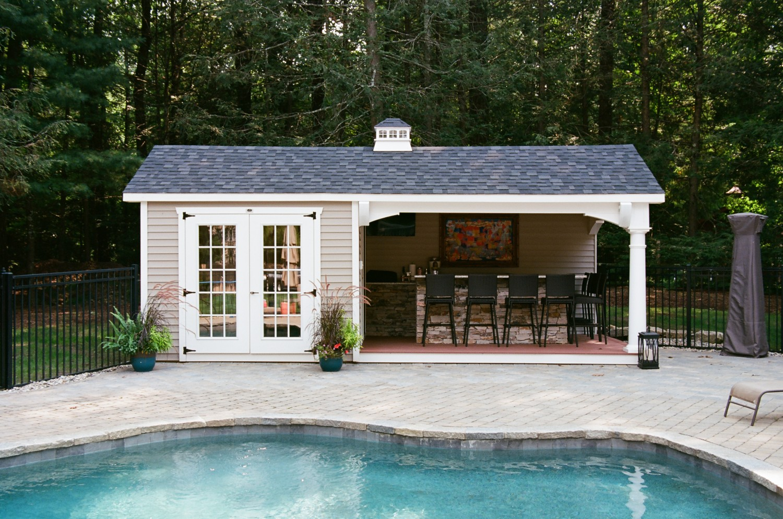 pagoda inspired pool house