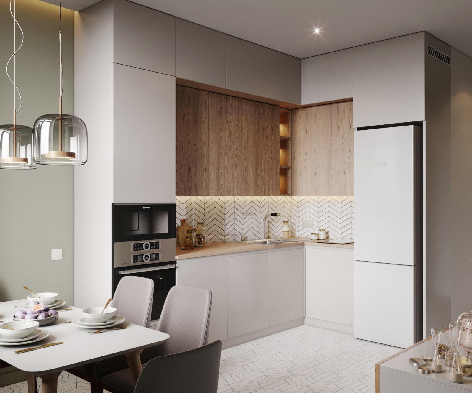 shiny surfaces L shaped kitchen design