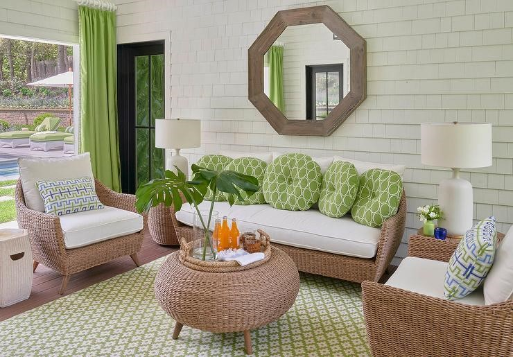 white and green pool house