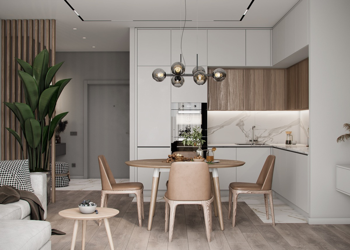 white fresh natural kitchen