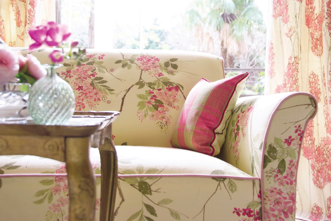 Printed Chairs in a living room