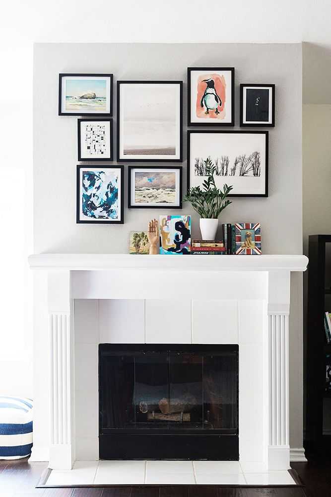 fireplace decor with art and paintings