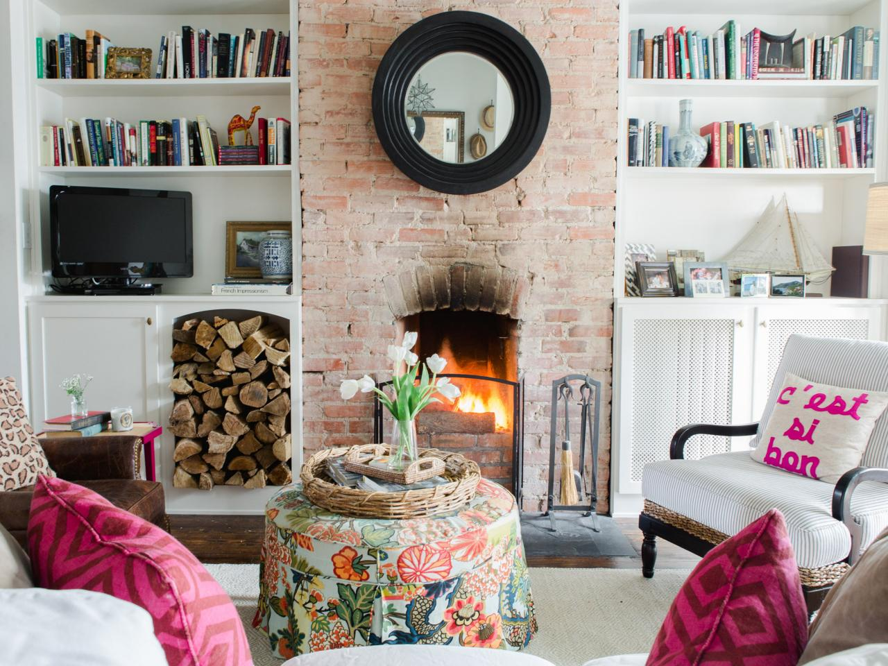 fireplace decor with bookworm