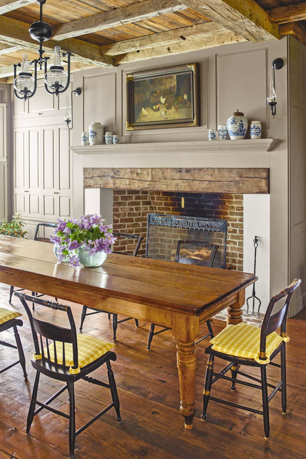 fireplace decor with dining room