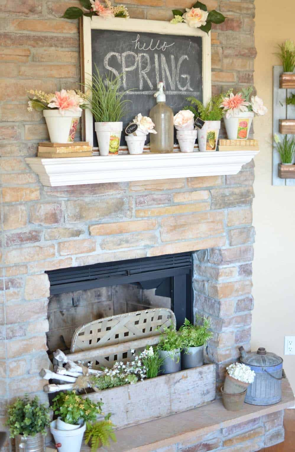 fireplace decor with greenery items