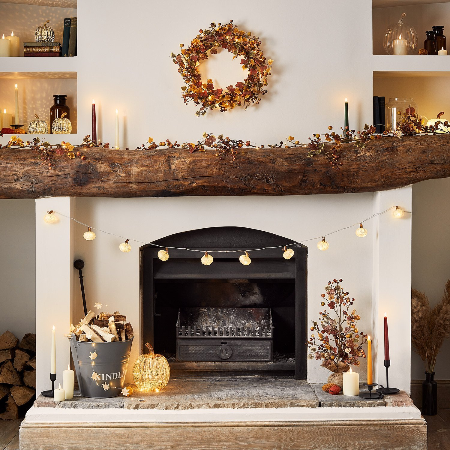 fireplace decor with toddler