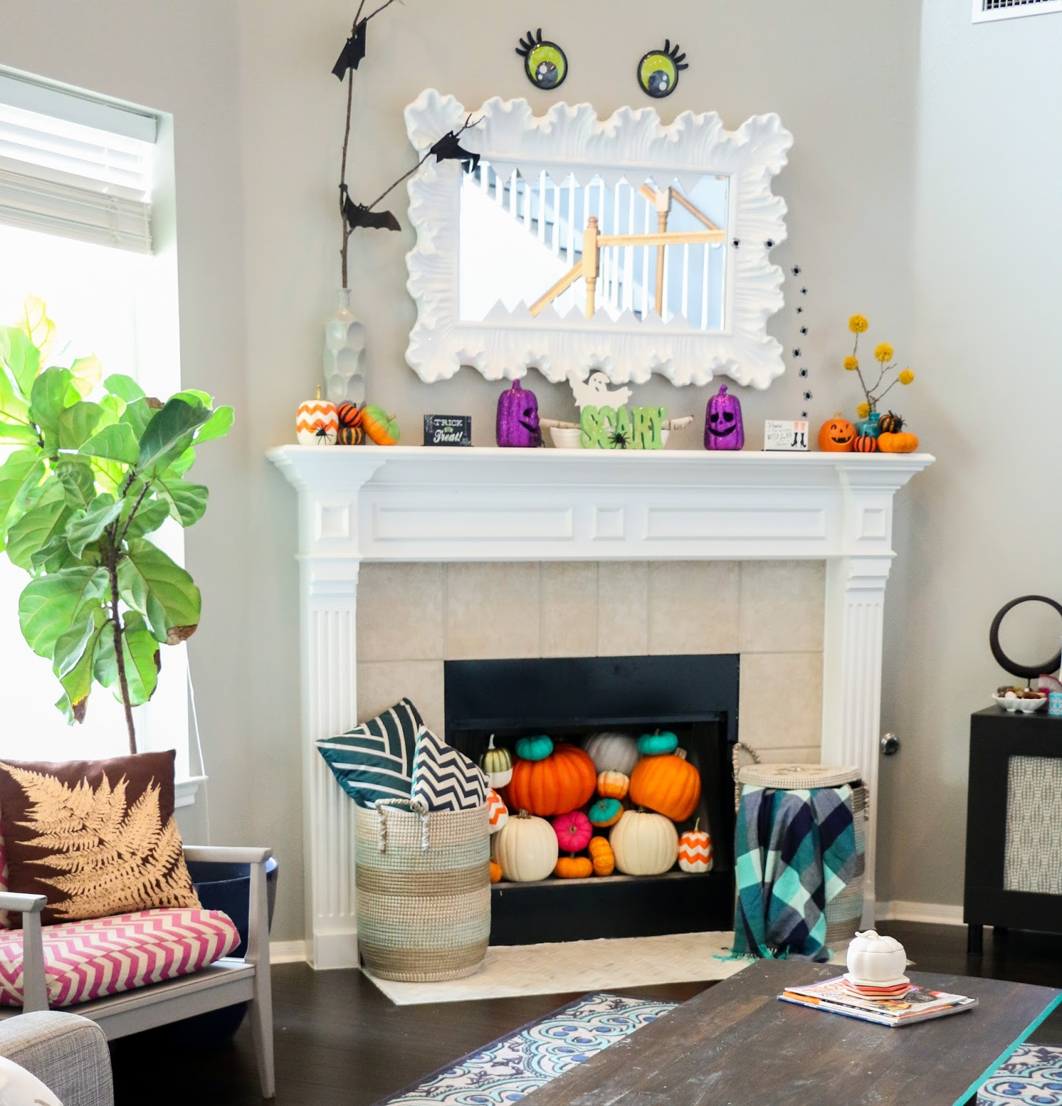 home decor collection in fireplace