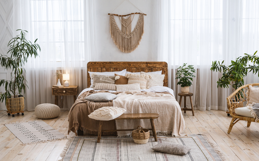 rustic bedroom design with artwork