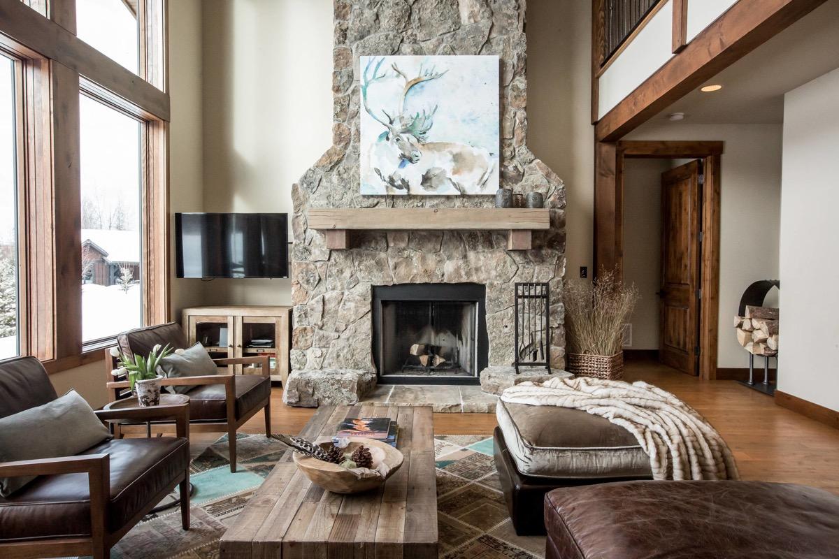 rustic look fireplace in living room