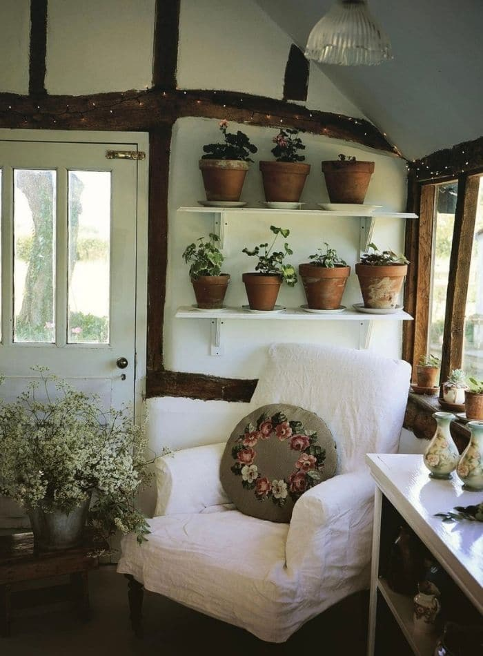 cottage design with green and flowers