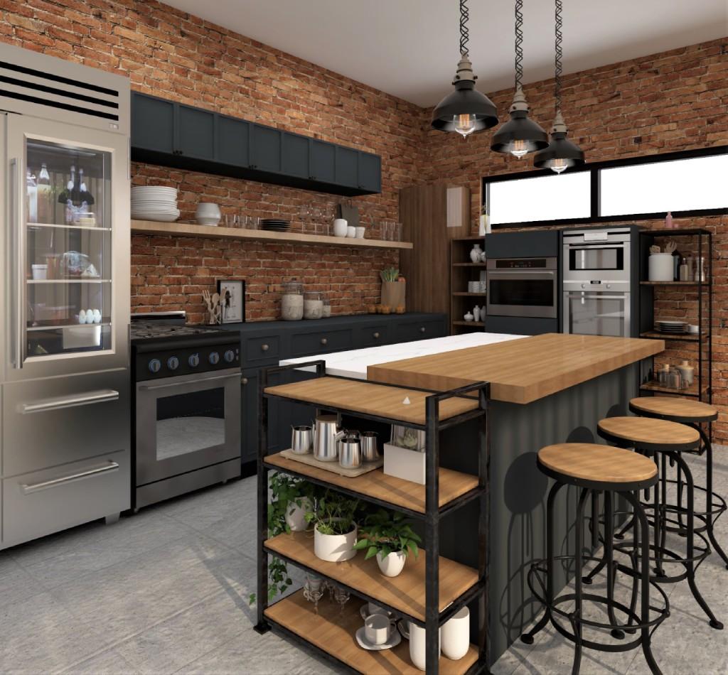 Black And Brick Industrial Kitchen Design Foyr