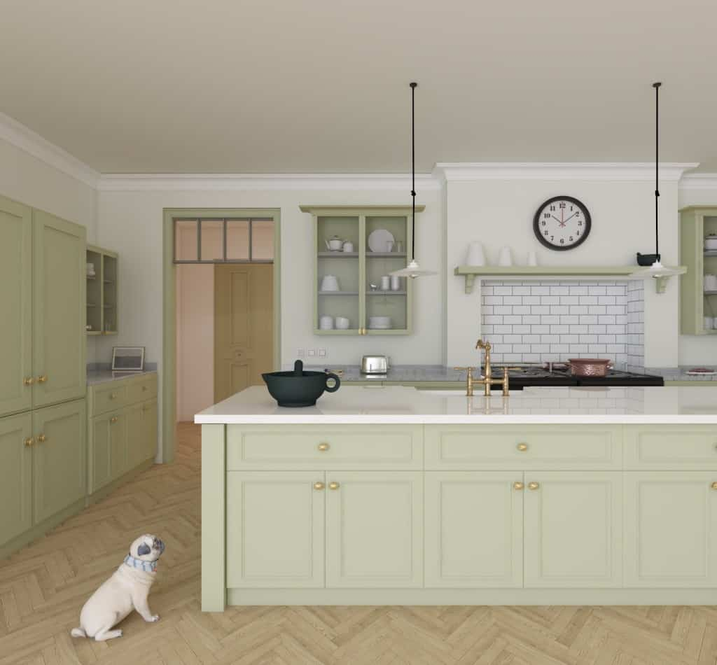Pistachio Green Farmhouse Kitchen Design Foyr